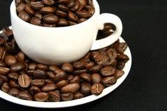 De tijd van de koffie, een kop bonen Stock Afbeelding