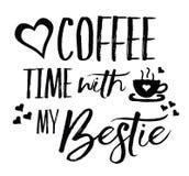 De Tijd van de liefdekoffie met mijn Bestie Stock Fotografie
