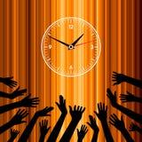 De tijd van de partij. groeps handen Stock Afbeelding