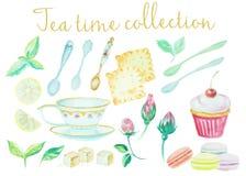 De Tijd van de thee De uitstekende potten van de waterverfkrabbel, de de hoge koppenbloemen, koekjes en de cakes detailleren inza Royalty-vrije Stock Fotografie
