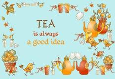 De Tijd van de thee Mooie kaart met leuke hand getrokken elementen voor theekransje Stock Foto