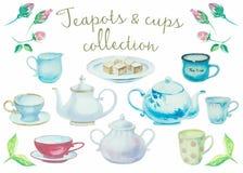 De Tijd van de thee Uitstekende potten en koppen hoge detailinzameling stock illustratie