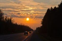 De tijd van de zonsondergang Stock Foto's