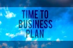 De Tijd van de handschrifttekst aan Businessplan Concept die organiseert programma voor het werk Marketing product Multiline teks stock fotografie