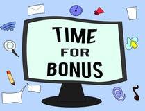 De Tijd van de handschrifttekst voor Bonus Het concept die een som geld betekenen voegde aan de lonen van een persoon toe als bel royalty-vrije illustratie