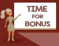 De Tijd van de handschrifttekst voor Bonus Het concept die een som geld betekenen voegde aan de lonen van een persoon toe als bel vector illustratie