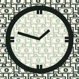 De tijd van het concept is geld Klok op Seamles-Patroon Stock Afbeelding