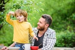 De tijd van het familiediner De gelukkige Dag van Vaders Weinig jongen met papa eet graangewas De zomerpicknick Het gezonde voeds royalty-vrije stock foto's