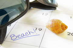 De tijd van het strand Stock Foto's