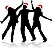 De Tijd van Kerstmis - dansende silhouetten Stock Afbeeldingen