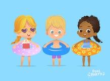 De Tijd van de kinderenzomer op Zwembadvakantie Grappig Karakter in Reddingsboei Jonge geitjes die in water spelen Zwem Oefening stock illustratie