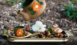 De tijd van de koffie in de tuin stock fotografie