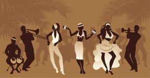 De Tijd van de Salsapartij Triomeisjes het dansen Latijnse muziek en drie musicus het spelen bongos, trompet en trombone stock illustratie