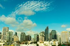 De tijd van de zonneschijnochtend van de stad van Bangkok Bangkok is het kapitaal en de hoofdstad van Thailand Royalty-vrije Stock Foto