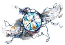 De tijd vliegt vector illustratie