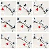 De tijdopnemerclose-up van de keuken 1 tot 9 minuten Stock Fotografie