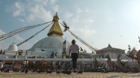 De tijdspanne van de Boudhanathtijd in Katmandu, Nepal stock footage