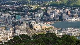 De tijdspanne van de de stadstijd van Wellington, wolken die over in ochtend rollen stock video