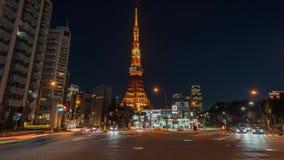 De tijdtijdspanne 4K van Japan - van Tokyo - van de toren van Tokyo stock videobeelden