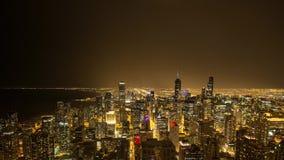 De tijdtijdspanne van Chicago tijdens een bliksemonweer stock footage