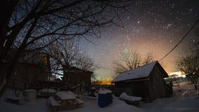De tijdtijdspanne van de sterrige hemel in wintergarden stock footage