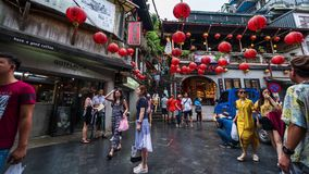 De tijdtijdspanne van Niet geïdentificeerde Mensen bezoekt erfenis Oude Stad van Jiufen in de Nieuwe Stad van Taipeh, Taiwan stock videobeelden