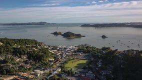De Tijdtijdspanne van Paihianieuw zeeland, Luchtmening 4k stock footage
