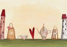 De tijduitnodiging van de thee Stock Afbeeldingen