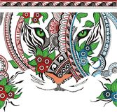 De tijger die uit een ornament bestaat Stock Afbeelding