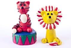 De tijger en de leeuw van de plasticine Royalty-vrije Stock Afbeeldingen