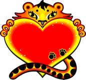 De tijger van het beeldverhaal met liefdehart Stock Afbeelding