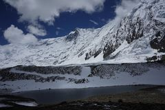 De Tilicho-Gletsjer in Annapurna-Kring Stock Afbeelding