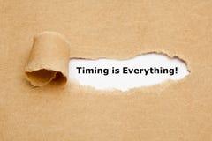 De timing is alles Gescheurd Document Concept Stock Foto