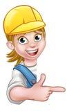 De Timmerman Mechanic van het vrouwenmanusje van alles of Loodgieter Stock Foto