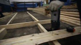 De timmerman verdraait een spijker in een boomclose-up stock videobeelden