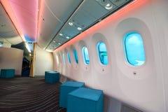 De Tint van het venster aan boord van Boeing 787 Stock Foto