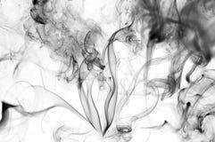 De tinta preta dentro no fundo branco Redemoinhos abstratos das emanações Inversio Fotografia de Stock