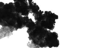 De tinta preta dissolva na água no fundo branco com resíduo metálico do luma 3d rendem da simulação computorizada Elevação de qua ilustração do vetor