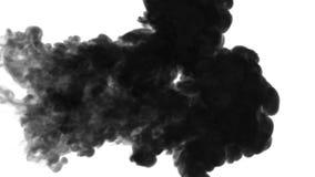 De tinta preta dissolva na água no fundo branco com resíduo metálico do luma 3d rendem da simulação computorizada Tiro horizontal ilustração royalty free