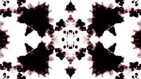 De tinta preta dissolve-se na água no fundo branco com resíduo metálico do luma 3d rendem da simulação computorizada Caleidoscópi vídeos de arquivo