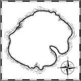 De tinta preta tirado mão dos desenhos animados do mapa do tesouro dos piratas isolado no branco, palmas na caixa transversal do  ilustração do vetor
