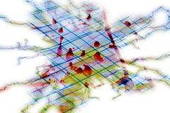De tinten van de waterverfverf, penlijnen, rode was, achtergrond Stock Foto