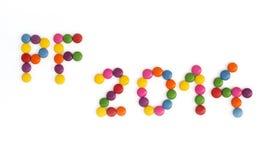 De titel PF 2014 geschreven van de gekleurde wijsneuzen Royalty-vrije Stock Foto