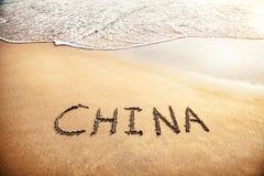 De titel van China op het zand Royalty-vrije Stock Afbeelding