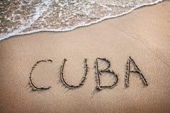 De titel van Cuba op het zand Stock Afbeeldingen