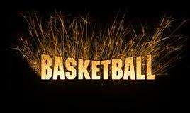 De titel van de basketbalkrantekop in vonken op donkere achtergrond Royalty-vrije Stock Foto