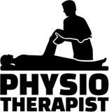 De titel van de fysiotherapeutbaan met silhouet vector illustratie