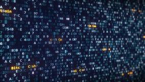 De titels die van het Bitcoincontante geld onder veranderende hexadecimale symbolen op het computerscherm verschijnen stock videobeelden