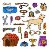 De toebehoren die van de beeldverhaalhond honds dierlijke huisdierenstuk speelgoed het hulpmiddel vectorillustratie verzorgen van royalty-vrije illustratie