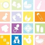 De Toebehoren en het speelgoed van de baby Stock Afbeelding
